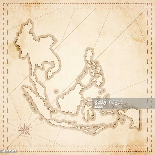 Southeast Asia map in retro vintage style - old textured paper