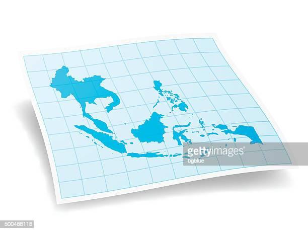 Südostasien Karte, isoliert auf weißem Hintergrund