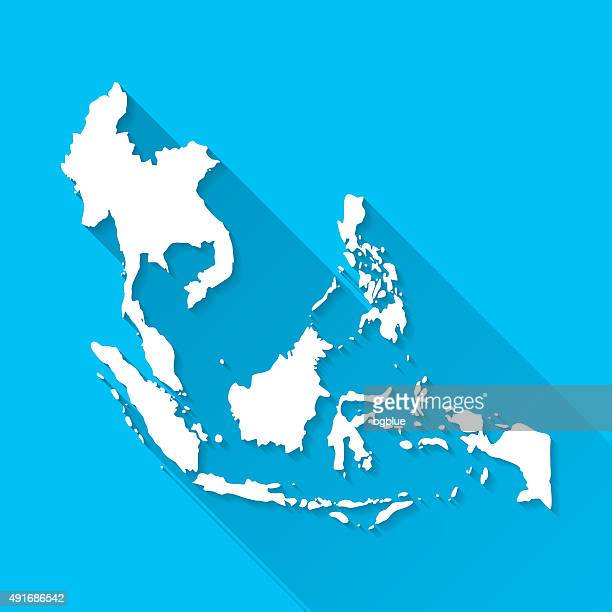 Southeast Asia Map on Blue Background, Long Shadow, Flat Design