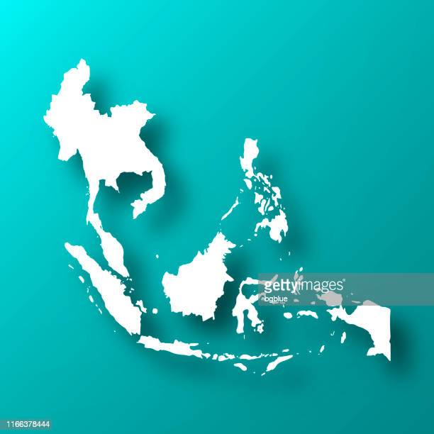 southeast asia map on blue green background with shadow - southeast stock illustrations