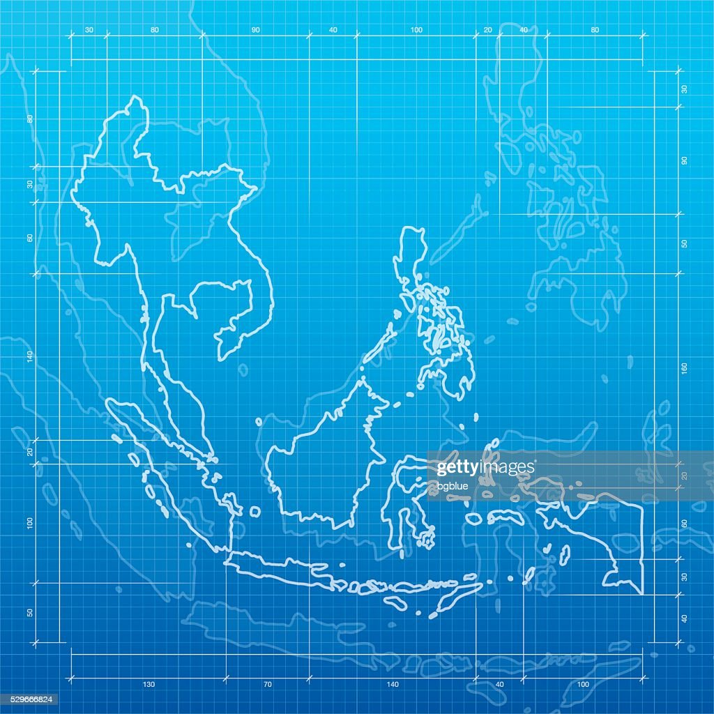 Southeast asia map on blueprint background vector art getty images southeast asia map on blueprint background vector art malvernweather Images
