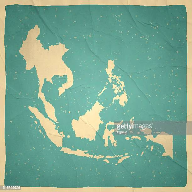 illustrazioni stock, clip art, cartoni animati e icone di tendenza di sud-est asiatico mappa sulla vecchia carta trama vintage - indonesia