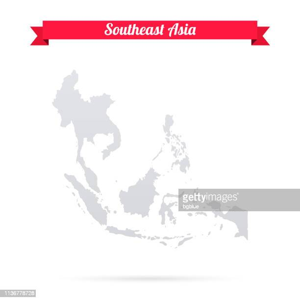 Southeast Asia map on white background with red banner