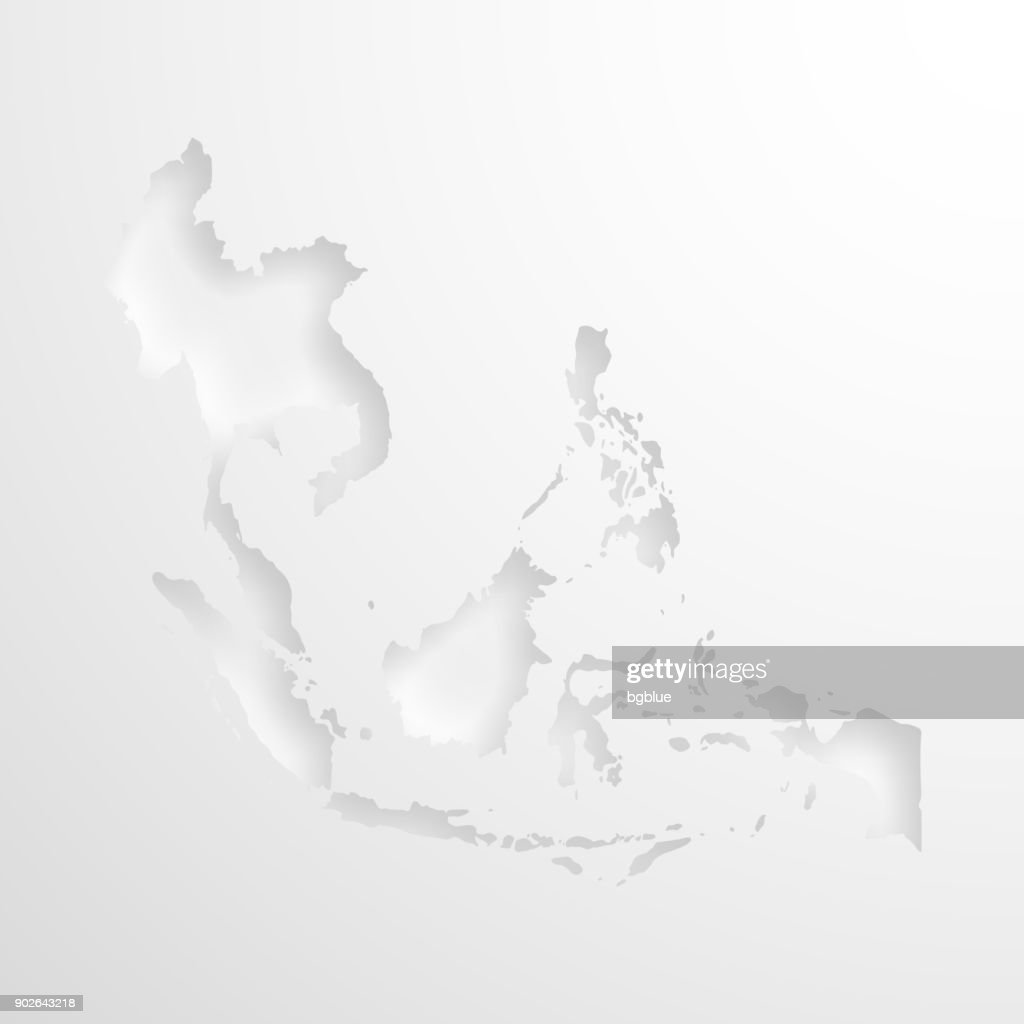 Southeast Asia Map With Embossed Paper Effect On Blank Background ...