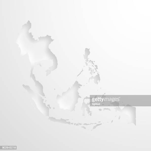 southeast asia map with embossed paper effect on blank background - relief carving stock illustrations