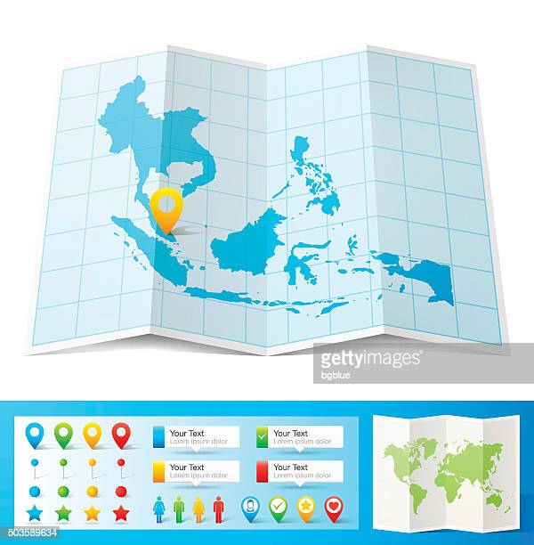 Southeast Asia Map with location pins isolated on white Background