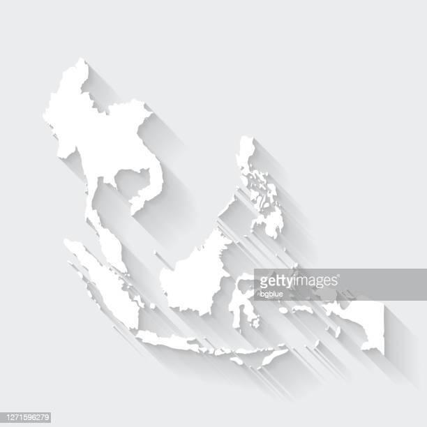 空白の背景に長い影を持つ東南アジアマップ - フラットデザイン - 南東点のイラスト素材/クリップアート素材/マンガ素材/アイコン素材