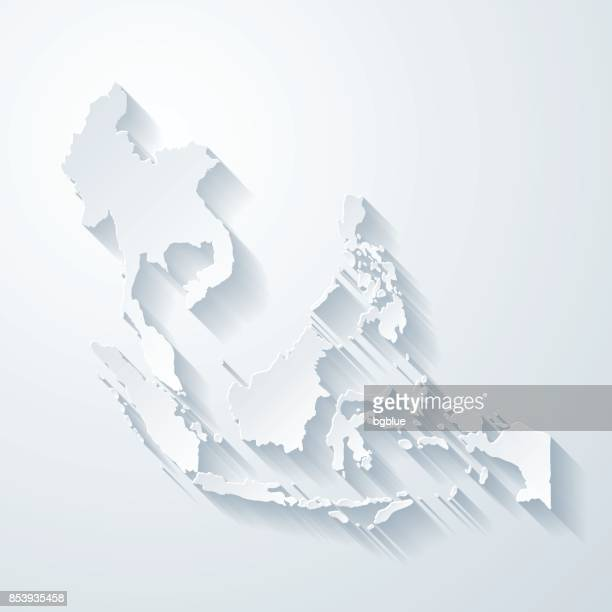 Southeast Asia map with paper cut effect on blank background