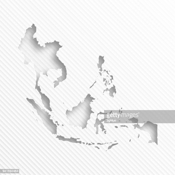 Südost-Asien Karte mit Papier Schneiden auf abstrakte weißen Hintergrund