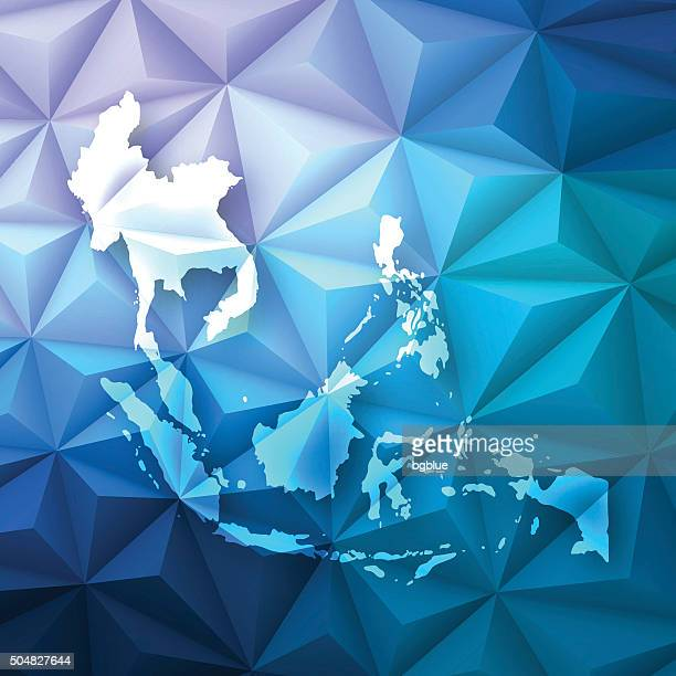 Southeast Asia on Abstract Polygonal Background - Low Poly, Geometric