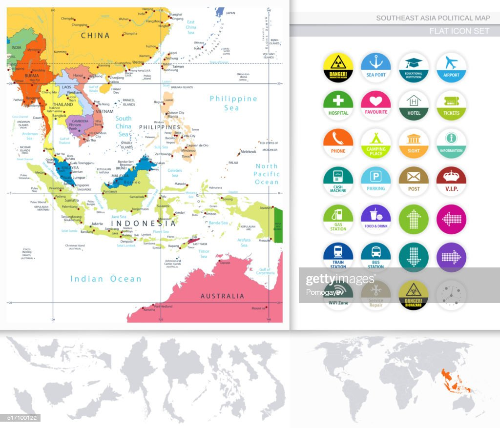 Southeast Asia Political Map And Flat Icon Set Stock Illustration ...