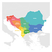 Southeast Europe Region. Colorful map of countries of Balkan Peninsula. Vector illustration