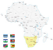 southern africa map with flags