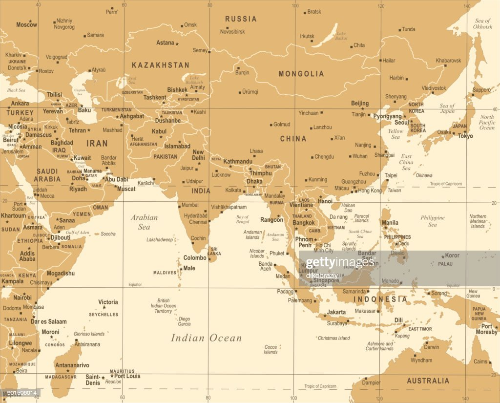 Southern Asia Map - Vintage Vector Illustration