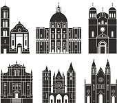Southern Europe. Architecture. Isolated European buildings on white background
