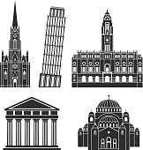 Southern Europe. European buildings on white background