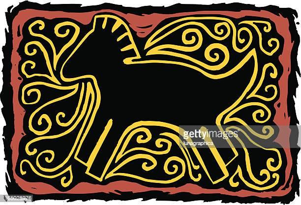 southwest horse petroglyph - mare stock illustrations, clip art, cartoons, & icons