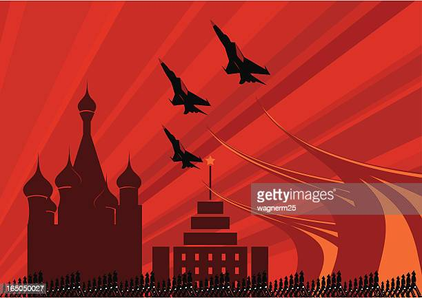 soviet army parade with fighters jets flying over - russia stock illustrations