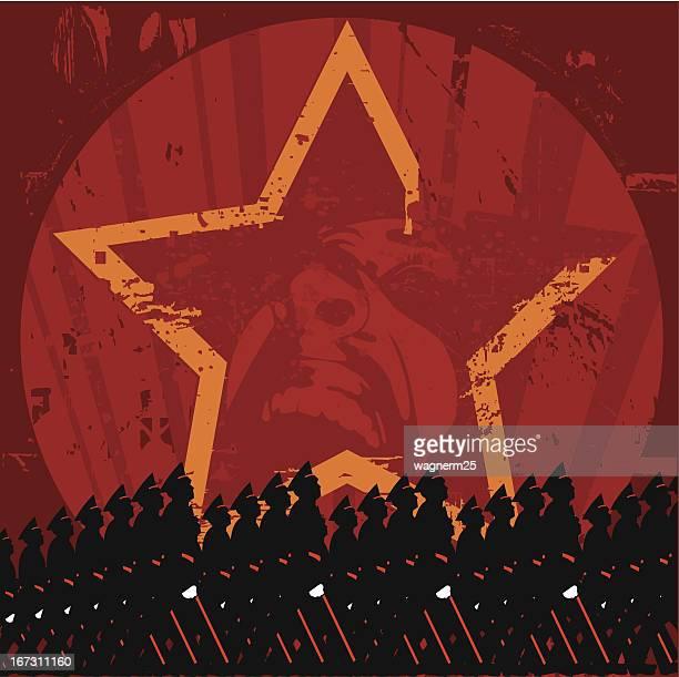 soviet era illustration style vector poster - fascism stock illustrations