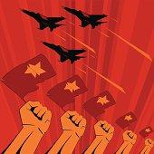 Soviet era propaganda poster style