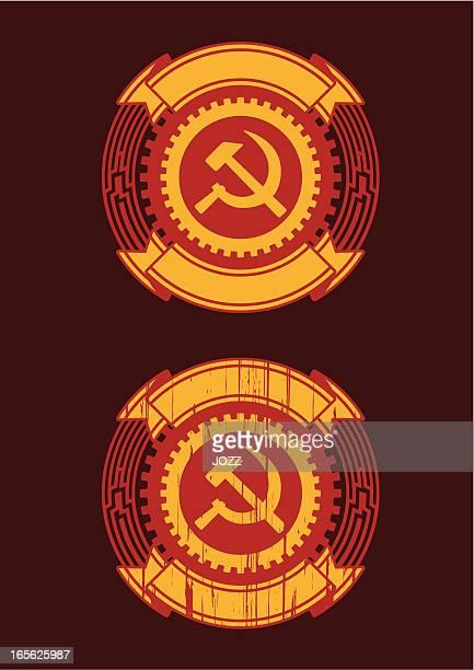 ilustraciones, imágenes clip art, dibujos animados e iconos de stock de insignias soviética - socialismo
