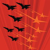 Soviet propaganda poster with MIG jets flying fast