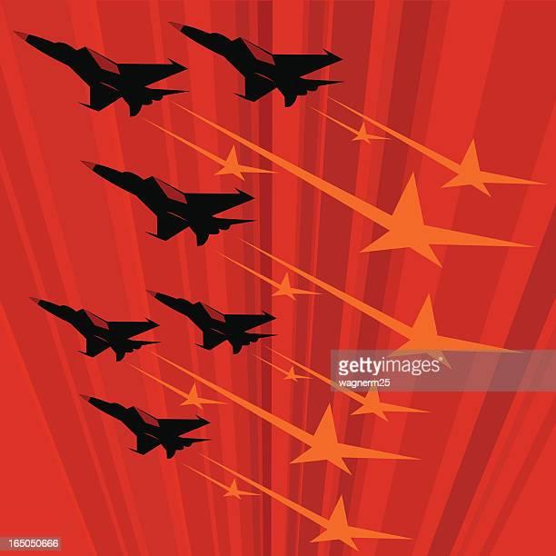 Soviet propaganda poster with MIG jets flying fast