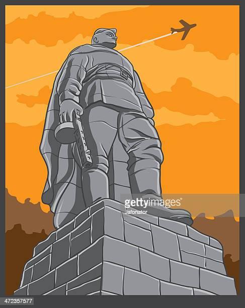 ilustraciones, imágenes clip art, dibujos animados e iconos de stock de de rusia soviética war memorial - submachine gun
