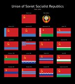 Soviet Union (USSR) Flags Collection on black background.