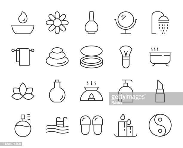 ilustrações de stock, clip art, desenhos animados e ícones de spa and beauty - light line icons - massagista