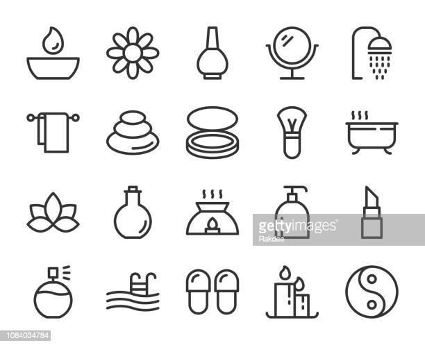 ilustrações de stock, clip art, desenhos animados e ícones de spa and beauty - line icons - massagista
