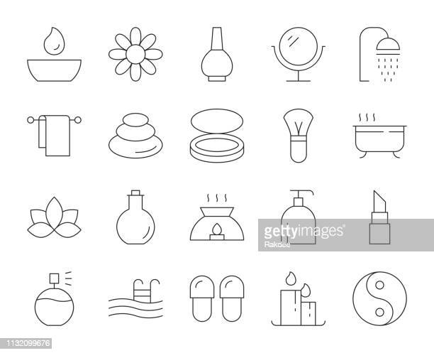 spa and beauty - thin line icons - alternative therapy stock illustrations, clip art, cartoons, & icons