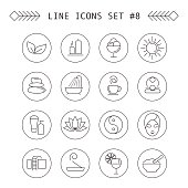 Spa and leisure linear icons