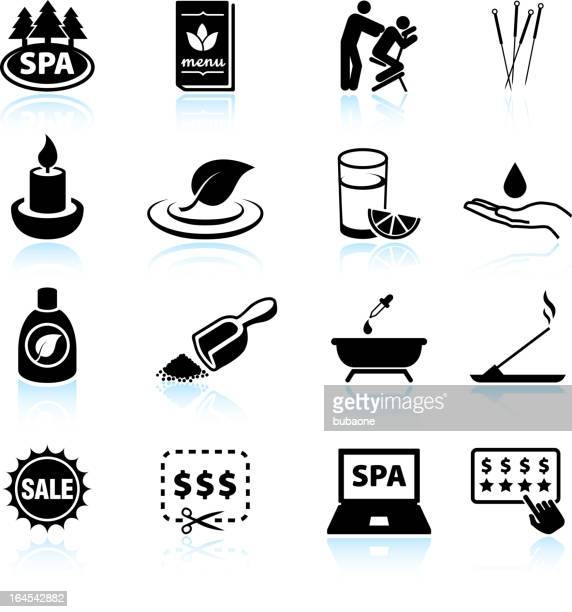 spa and relaxation black & white vector icon set - acupuncture stock illustrations, clip art, cartoons, & icons