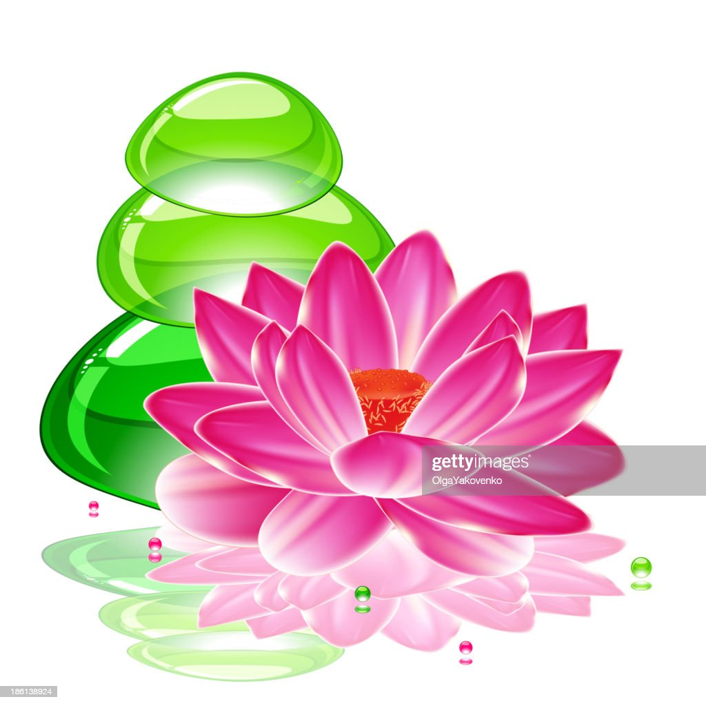 Spa background with a lotus flower and transparent green stones spa background with a lotus flower and transparent green stones vector art izmirmasajfo