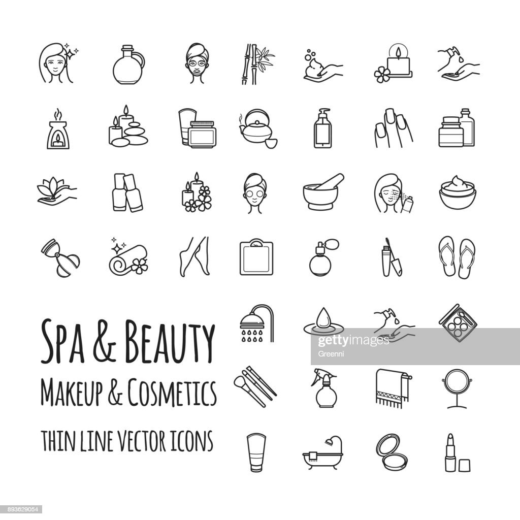 Spa, Beauty, makeup and cosmetics thin line vector icons set