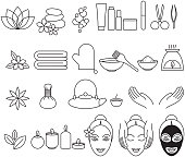 Spa beauty salon wellness center icons set