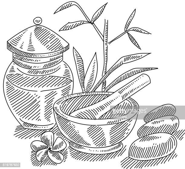 spa drawing - mortar and pestle stock illustrations, clip art, cartoons, & icons