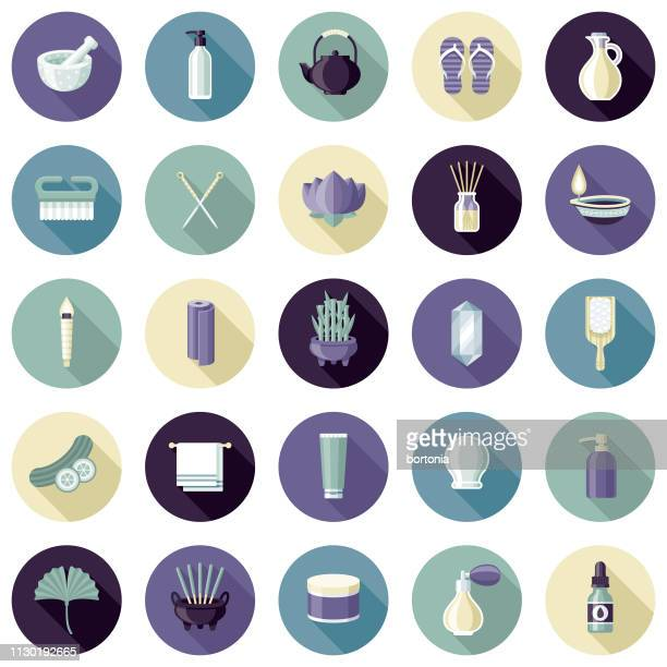 spa icon set - acupuncture stock illustrations, clip art, cartoons, & icons