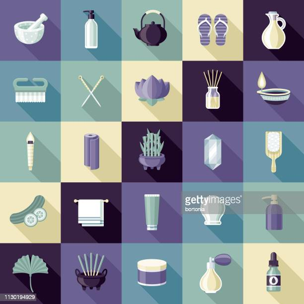 spa-icon-set - flach stock-grafiken, -clipart, -cartoons und -symbole