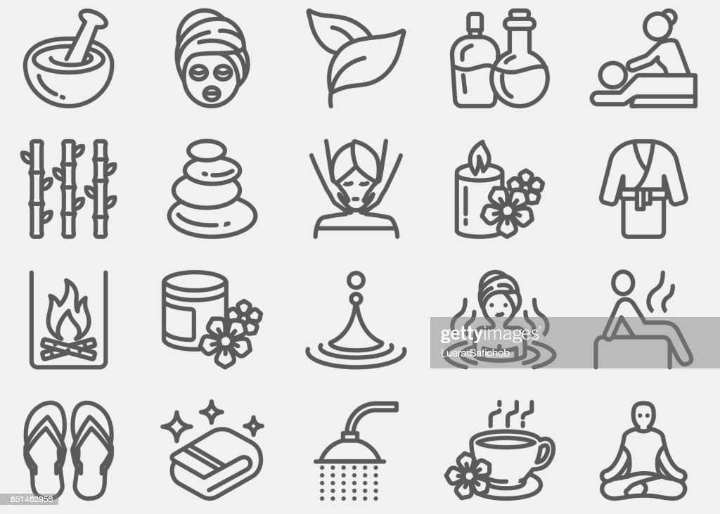 Spa massage and Wellness Line Icons : stock illustration