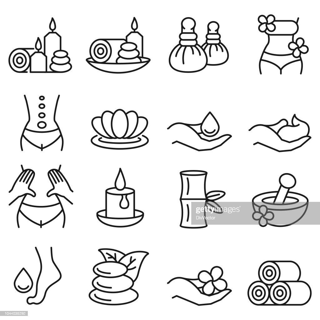 Spa massage icon set : stock illustration