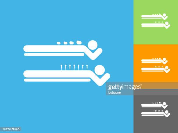 spa rock massage  flat icon on blue background - acupuncture stock illustrations, clip art, cartoons, & icons