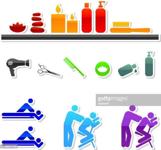 ilustrações de stock, clip art, desenhos animados e ícones de spa royalty free vector ícone conjunto de nove cores - massagista