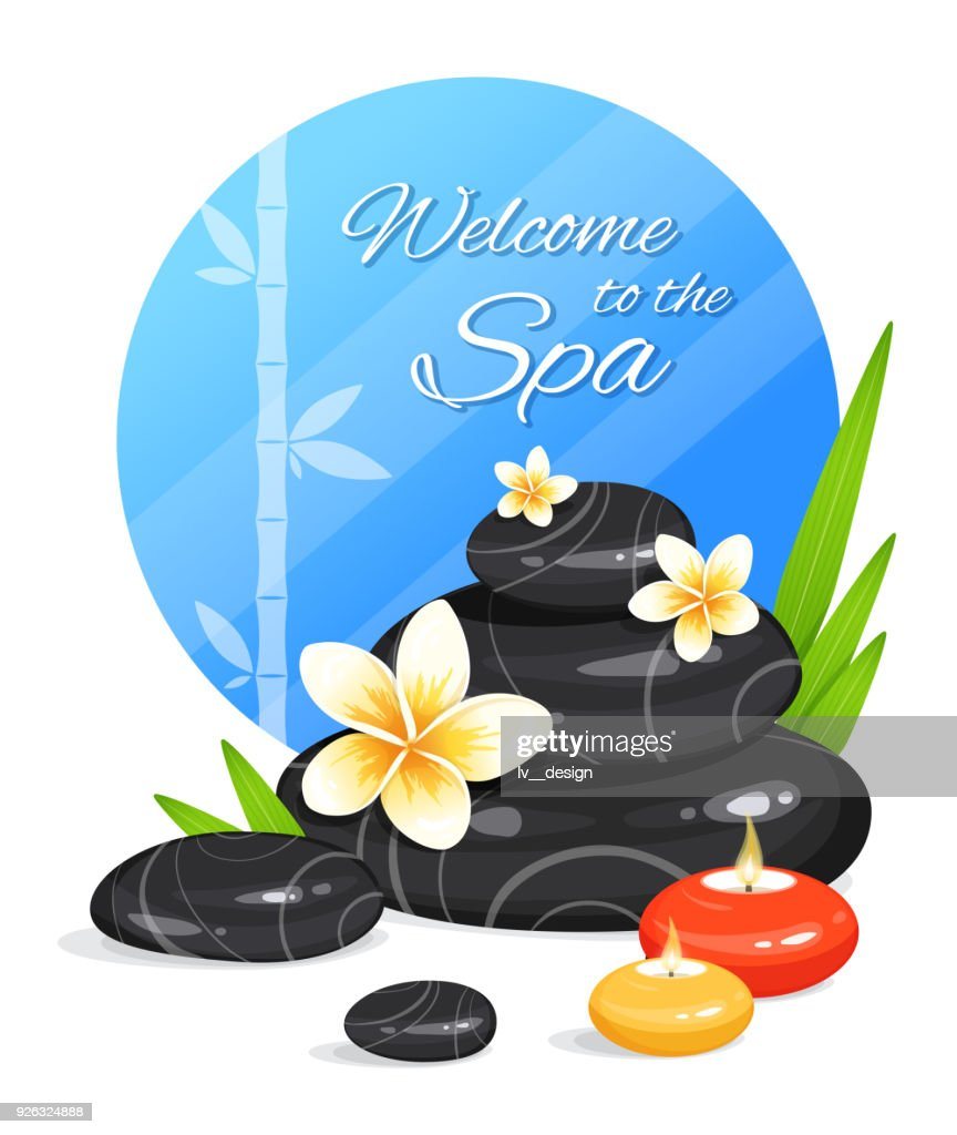 Spa still life with stack of stones, burning aroma candles, bamboo leafs and frangipani flowers. Zen Garden. Harmony and balance. Vector illustration