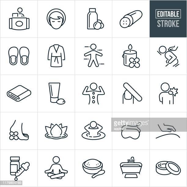 spa thin line icons - editable stroke - relaxation stock illustrations