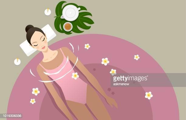 spa treatment - one young woman only stock illustrations