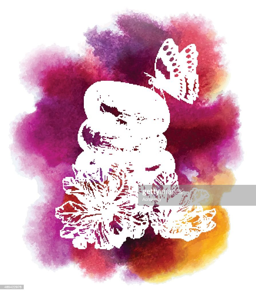 Spa watercolor background with flowers and Butterfly
