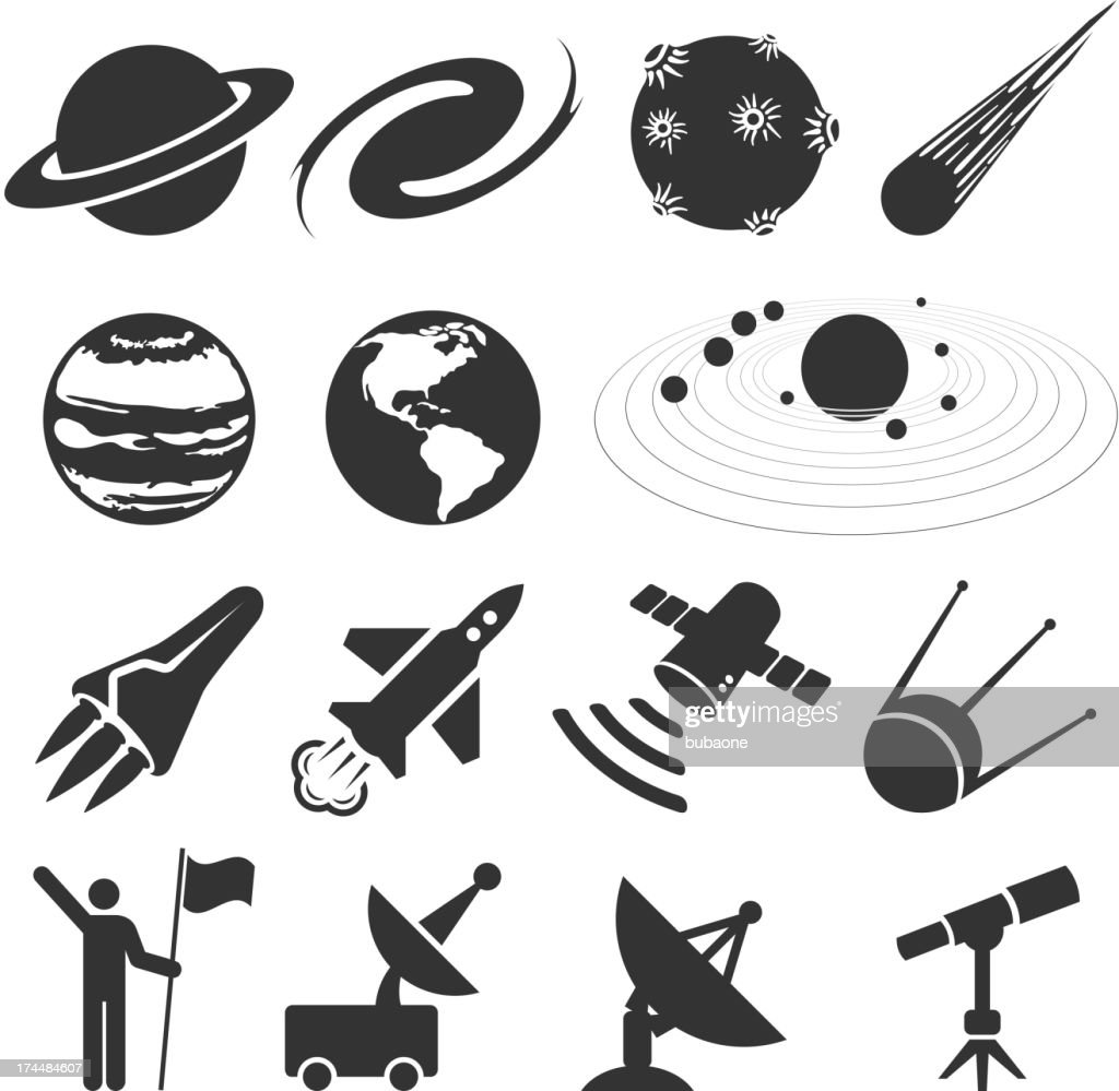 Space And Astronomy Black White Vector Icon Set High-Res ...