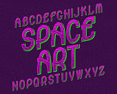 Space Art typeface. Retro font. Isolated English alphabet.